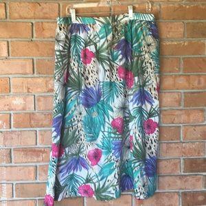 Vintage Alfred Dunner tropical floral print skirt